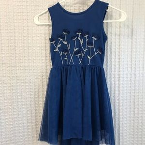 Blue Dress with Embroidered Flowers